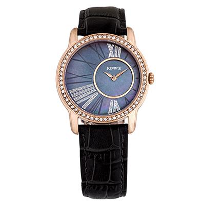 Reloj para Dama, tablero redondo, madreperla, romanos, analogo, pulso cuero gris