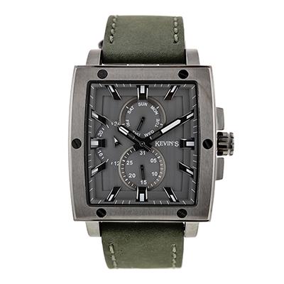 Reloj para Hombre, tablero rectangular, gris, index, analogo, pulso cuero gris