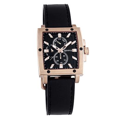 Reloj para Hombre, tablero rectangular, negro, index, analogo, pulso cuero negro