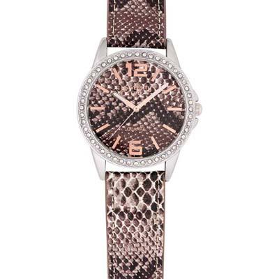 Reloj Reloj university analogo, para Dama, tablero redondo, estilo index + arabigo, pulso cuero sintetico