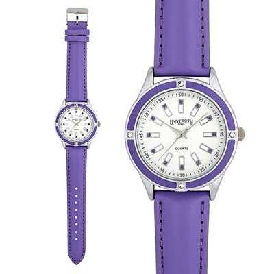 Reloj Reloj university analogo, para Dama, tablero redondo color blanco, estilo index, pulso cuero sintetico color morado
