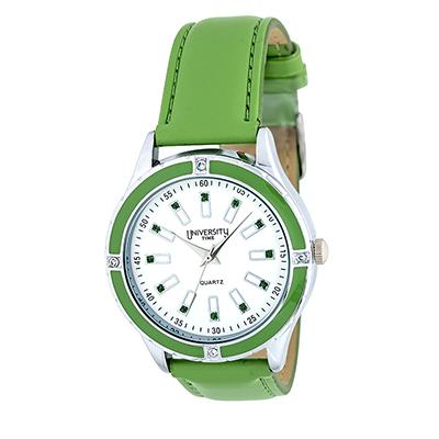 Reloj Reloj university analogo, para Dama, tablero redondo color blanco, estilo index, pulso cuero sintetico color verde
