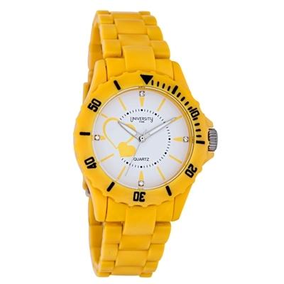 Reloj Reloj university analogo, para Dama, tablero redondo color blanco, estilo index, pulso pasta color amarillo