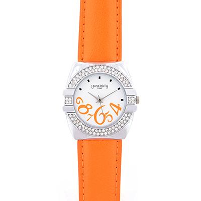Reloj Reloj university analogo, para Dama, tablero redondo color blanco, estilo index + arabigo, pulso cuero sintetico color naranja
