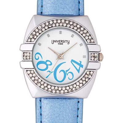 Reloj Reloj university analogo, para Dama, tablero redondo color blanco, estilo index + arabigo, pulso cuero sintetico color azul