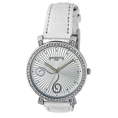 Reloj para Dama, tablero redondo, silver, puntos, analogo, pulso cuero sintetico blanco