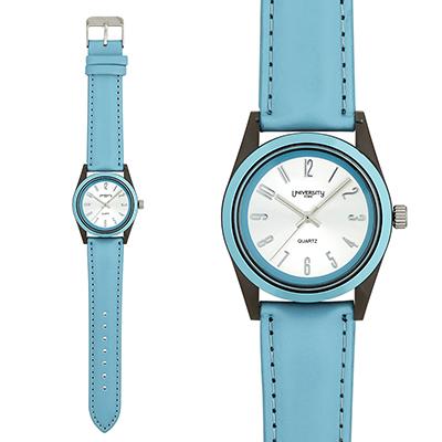 Reloj para Dama, tablero redondo, silver, arabigo, analogo, pulso cuero sintetico azul
