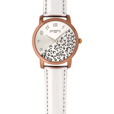 Reloj para Dama, tablero redondo, silver, arabigo, analogo, pulso cuero sintetico gris
