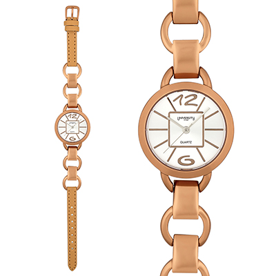 Reloj para Dama, tablero redondo, silver, index + arabigo, analogo, pulso cuero sintetico naranja