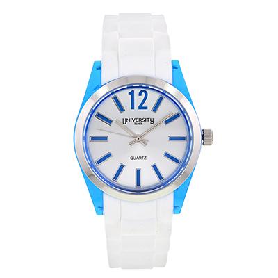 Reloj para Dama, tablero redondo, silver, index + arabigo, analogo, pulso silicona blanco