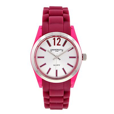 Reloj para Dama, tablero redondo, silver, index + arabigo, analogo, pulso silicona vinotinto