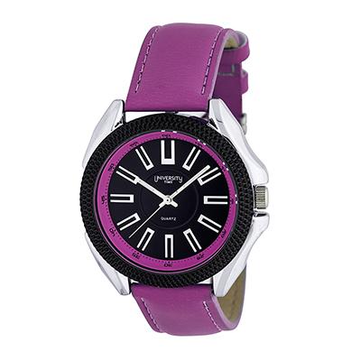 Reloj para Dama, tablero redondo, negro, index, analogo, pulso cuero sintetico morado