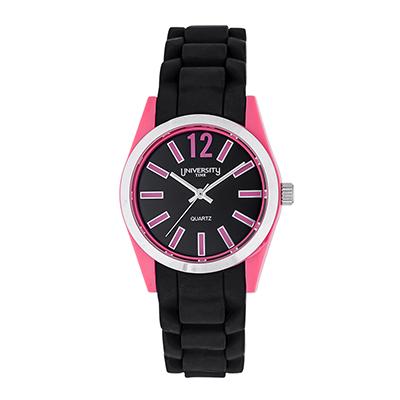 Reloj para Dama, tablero redondo, negro, index + arabigo, analogo, pulso silicona negro