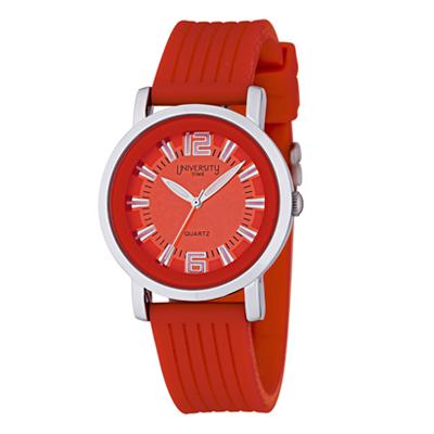 Reloj Unisex, tablero redondo, rojo, index + arabigo, analogo, pulso silicona rojo
