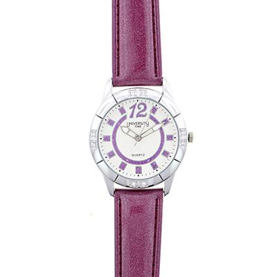 Reloj para Dama, tablero redondo, blanco, index + arabigo, analogo, pulso cuero sintetico morado