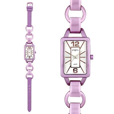 Reloj para Dama, tablero rectangular, silver, index + arabigo, analogo, pulso cuero sintetico fucsia