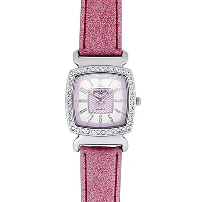 Reloj para Dama, tablero cuadrado, blanco+, arabigo, analogo, pulso cuero sintetico rosado