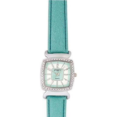 Reloj para Dama, tablero cuadrado, blanco, arabigo, analogo, pulso cuero sintetico aguamarina