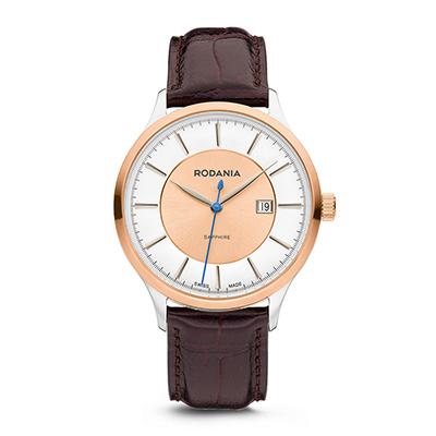 Reloj para Hombre, tablero redondo, bicolor, index, analogo, pulso cuero cafe, calendario