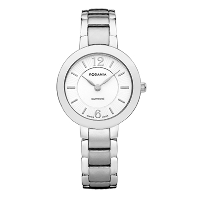 Reloj para Dama, tablero redondo, blanco, index + arabigo, analogo, pulso metalico metalico