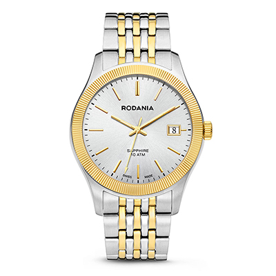 Reloj para Hombre, tablero redondo, silver, index, analogo, pulso metalico metalico, calendario