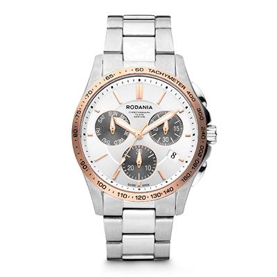 Reloj para Hombre, tablero redondo, silver, index, analogo, pulso metalico metalico, calendario, cronografo
