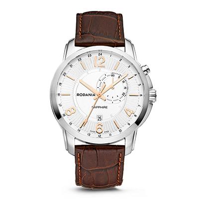 Reloj para Hombre, tablero redondo, silver, index + arabigo, analogo, pulso cuero cafe, calendario