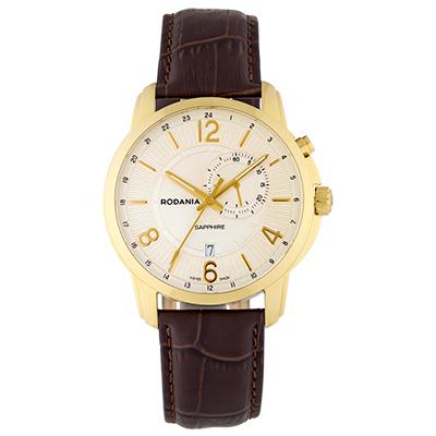 Reloj para Hombre, tablero redondo, ivory, index + arabigo, analogo, pulso cuero cafe, calendario