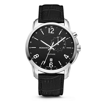 Reloj para Hombre, tablero redondo, negro, index + arabigo, analogo, pulso cuero negro, calendario