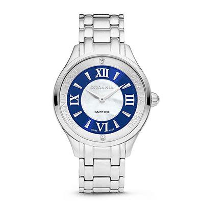 Reloj para Dama, tablero redondo, bicolor, index + romano, analogo, pulso metalico metalico