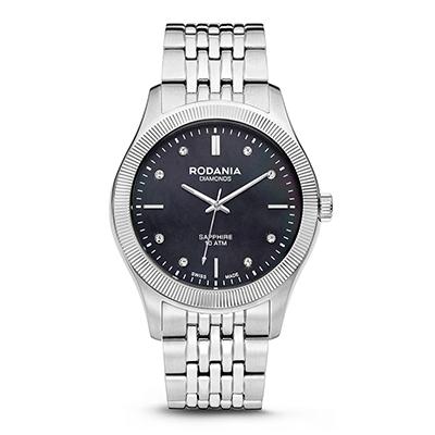 Reloj para Dama, tablero redondo, madreperla, index + puntos, analogo, pulso metalico metalico