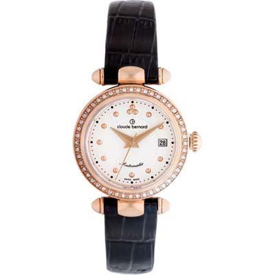 Reloj para Dama, tablero redondo, blanco, puntos, analogo, pulso cuero metalico