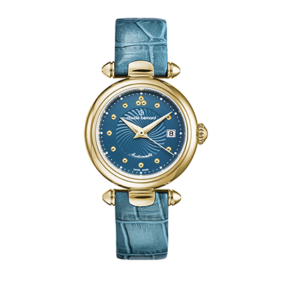 Reloj para Dama, tablero redondo, azul, puntos, analogo, pulso cuero