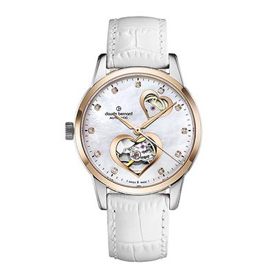 Reloj para Dama, tablero redondo, madreperla, puntos, analogo, pulso cuero blanco