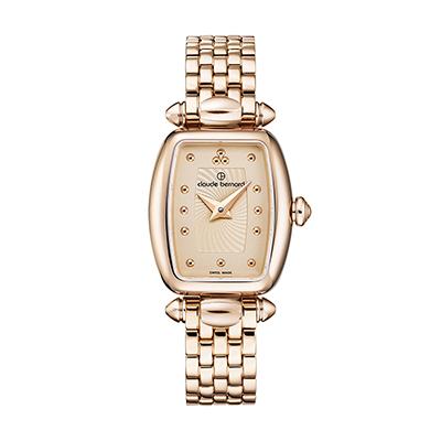 Reloj para Dama, tablero rectangular, rosa, puntos, analogo, pulso metalico metalico