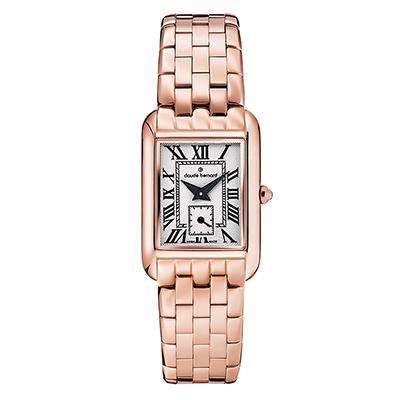 Reloj para Dama, tablero rectangular, blanco, romanos, analogo, pulso metalico metalico