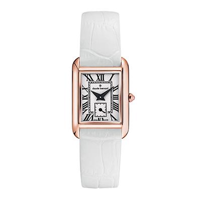 Reloj para Dama, tablero rectangular, blanco, romanos, analogo, pulso cuero blanco