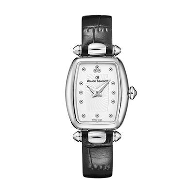 Reloj para Dama, tablero rectangular, blanco, puntos, analogo, pulso cuero negro
