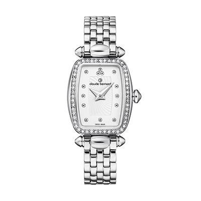 Reloj para Dama, tablero rectangular, silver, puntos, analogo, pulso metalico metalico