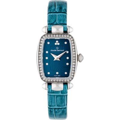 Reloj para Dama, tablero rectangular, azul, puntos, analogo, pulso cuero azul