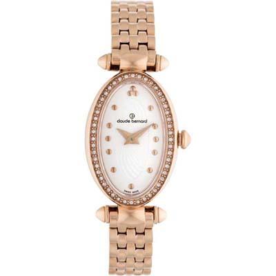 Reloj para Dama, tablero ovalado, blanco, puntos, analogo, pulso metalico metalico