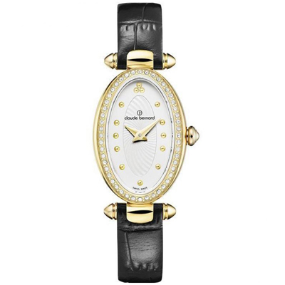 Reloj para Dama, tablero ovalado, blanco, puntos, analogo, pulso cuero negro