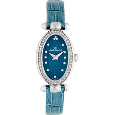 Reloj para Dama, tablero ovalado, azul, puntos, analogo, pulso cuero azul