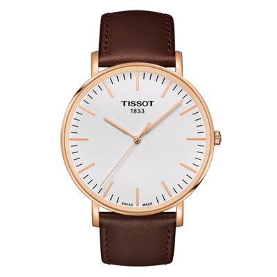 Reloj Tissot analogo, para Hombre, tablero redondo color blanco, estilo index, pulso cuero color café