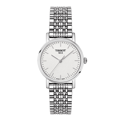 Reloj, tablero redondo, blanco, index, analogo, pulso metalico silver