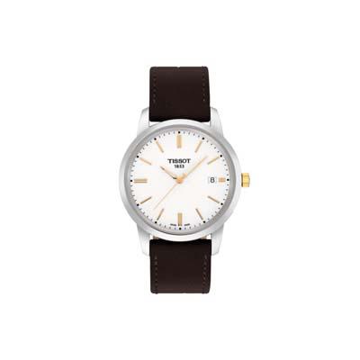 Reloj para Hombre, tablero redondo, blanco, index, analogo, pulso cuero cafe, calendario