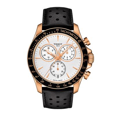 Reloj para Hombre, tablero redondo, blanco, index, analogo, pulso cuero negro, calendario, cronografo