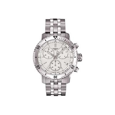Reloj Tissot analogo, para Hombre, tablero redondo color blanco, estilo index, pulso metalico color plateado, calendario, cronografo