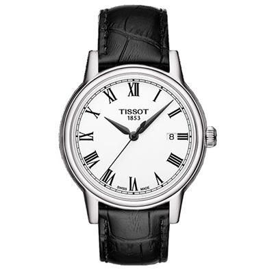 TISSOT CARSON QUARTZ GENT -  Reloj para hombre, Cristal de Zafiro, tablero blanco, números romanos, calendario, pulso cuero negro