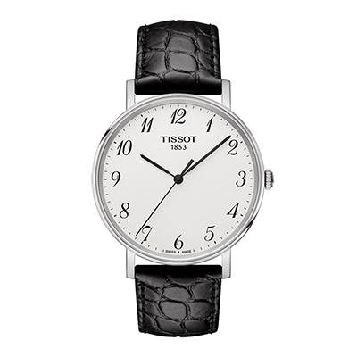 Reloj Tissot analogo, para Hombre, tablero redondo color blanco, estilo arabigos, pulso cuero color negro